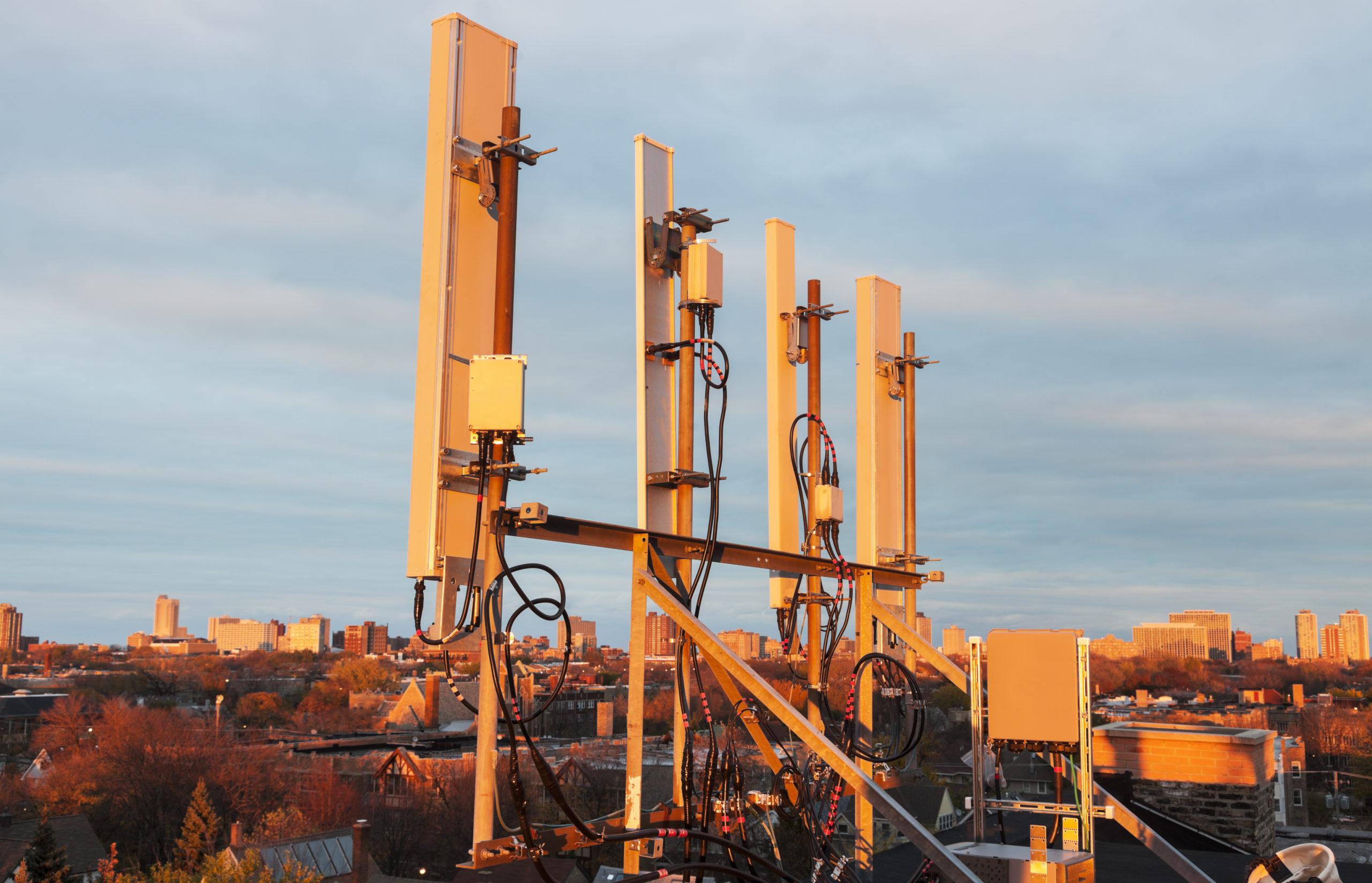 Cellular antennas in the sunset light